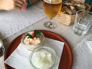 Fish egg pate and onion